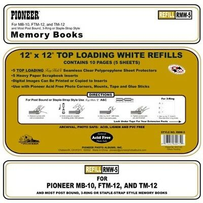 Pioneer Photo Albums Bund Top Loading Page Protectors With White Inserts, 12 By
