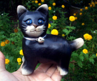 Hand Carved Wooden Black Cat Figurine Crafted Wood Kitty Kitten Blue eyes gift L