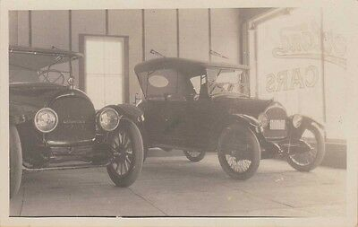 Rppc ~ Two 1917 Overland Automobiles Inside A Car Showroom ~ Rare Beauty