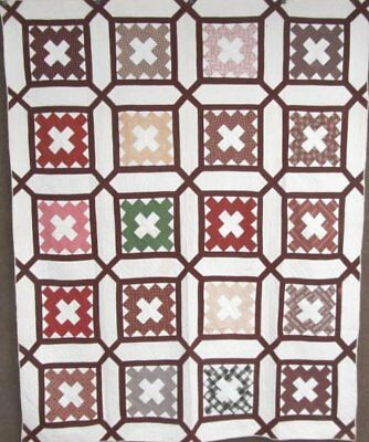 "Pre Civil War Fabrics! c 1860s Album ""Garden Maze"" ANTIQUE Quilt Browns"