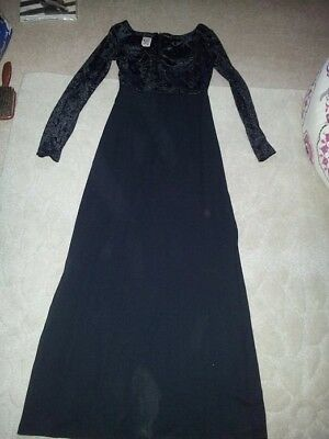 vintage Kit maxi black dress with velvet top size 8-10 Halloween witch