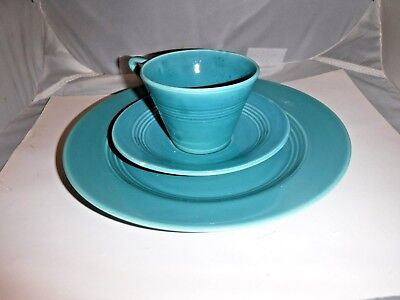 3 Piece Harlequin Homer Laughlin Old Luncheon Plate cup Saucer Turquoise Teal