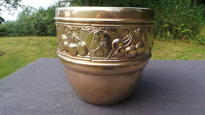 Art Deco Style Fine Yellow Copper Flower Pot Bowl Art Deco Planter Jugendstil