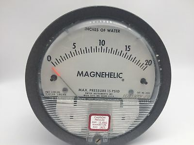 Dwyer Magnehelic Pressure Gauge, 0 To 20 Inches Wc, 15 Psig, Pn# 2020