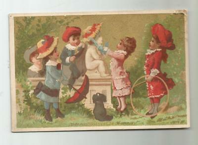 1882 Trade Card Gillett Lace Perry Ny Kids Statue Dog Stick And Ring Wheel Game