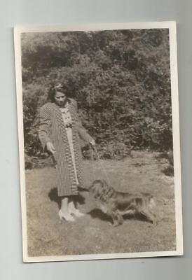 1930's COCKER SPANIEL DOG PHOTO OUT FOR A WALK ON THE LEASH WITH MAMA CUTE!