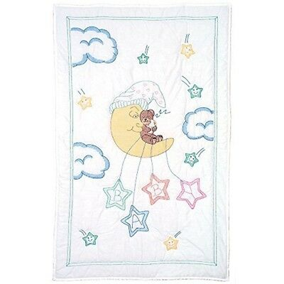 Jack Dempsey Stamped White Quilt Crib Top, 40 Inches x 60 Inches , Bear On The