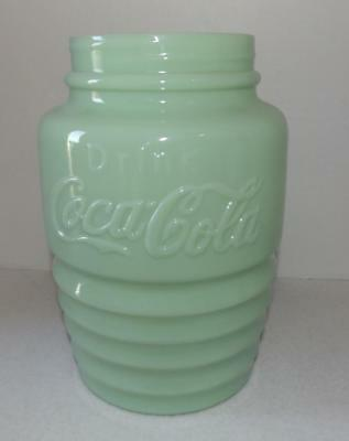 Coca Cola Coke Jadeite Green Glass Cookie Jar Canister