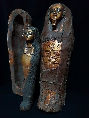 RARE ANCIENT  EGYPTIAN ANTIQUE Coffin Sarcophagus With Mummy Statue EGYPT BC