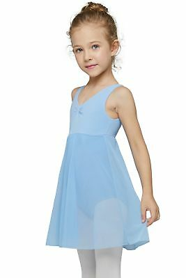 MdnMd Girls' Tank Leotard Dress Blue (Tag 140) Age 8-10