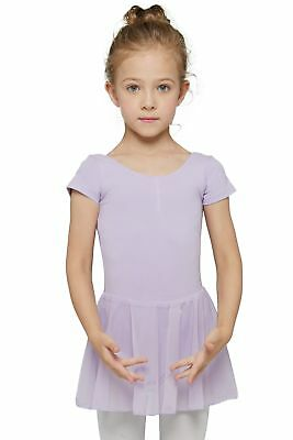 MdnMd Girls' Short Sleeve Skirted Leotard Purple (Tag 140) Age 8-10