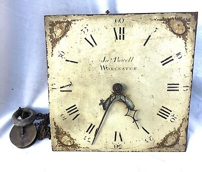Antique Longcase Clock Dial  Movement POWELL WORCESTER Maker To Prince Wales