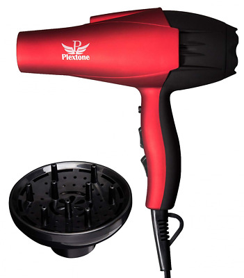 Plextone 1875W Red Quick Dry Lightweight Professional Ceramic Hair Dryer with Mu