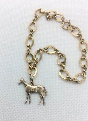 G.F. Horse Charm and Charm Bracelet Race Horse #67 Vintage Antique Gold Jewelry
