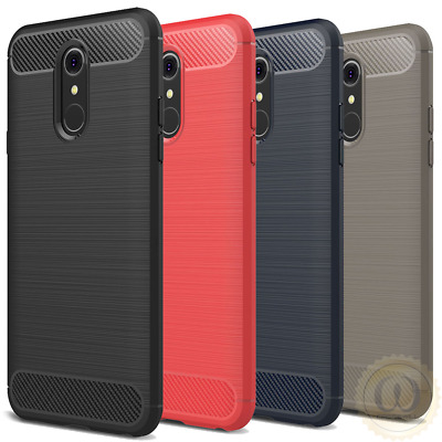 For LG Stylo 4 / Q Stylus Case Carbon Fiber & Brushed Texture Soft TPU Cover