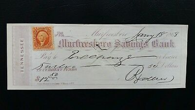Vintage Bank Check Dated Jan 18 1868