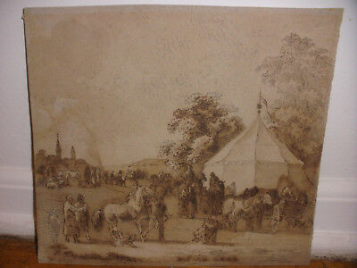 Antique German 19th 1863 drawing people and horses gathering ink wash on paper