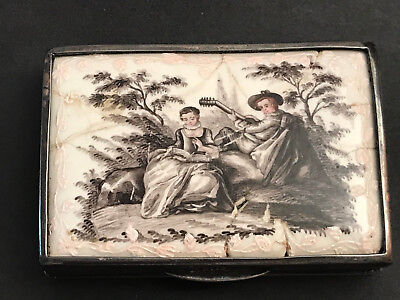 RARE Antike Emaille Emaile Dose Tabatiere Silber Old Silver Box Enamel