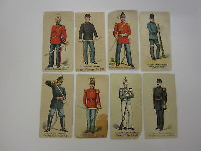 Vintage Illustrated Sweet Caporal Military Uniform Tobacco Cigarette Cards 8 pc