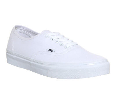 Mens Vans White Canvas Lace Up Trainers Size Uk 8 Ex Display Eur