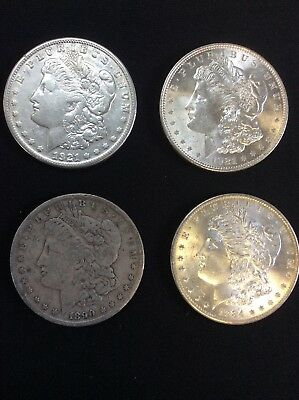 4) United States 90% Silver Morgan $1 Coins Various Dates & Mints