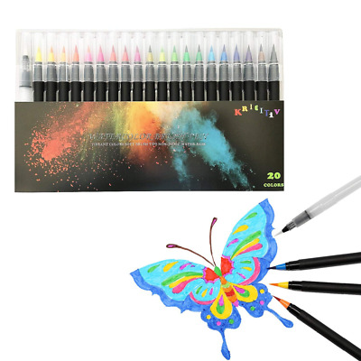 20 Colors Calligraphy Pen Tips Markers Flexible Tip Watercolor Brush Pens US NEW
