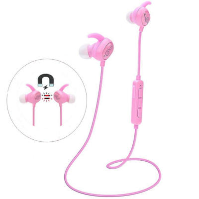 Bluetooth Pink Headphones, Wireless with Mic Sports Magnetic Earbuds Headsets US