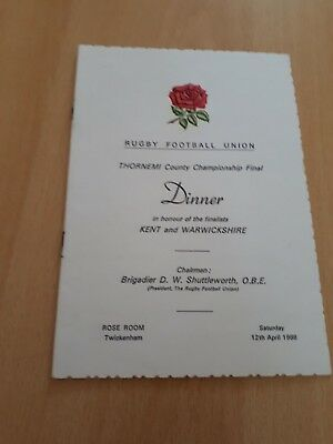 1986 Thorn Emi County Championship Final (Kent And Warwickshire) Dinner Menu