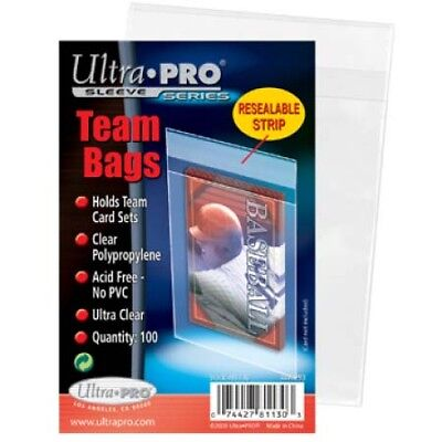 100 Ultra Pro Team Set Bags Reseal Sleeves Holder Pack Reusable Adhesive