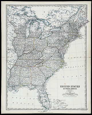 1861 ANTIQUE XRARE 19thC MAP US OF NORTH AMERICA (EASTERN STATES) Keith Johnston