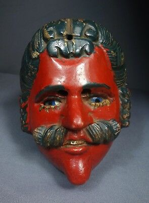 Vintage Hand Carved AJitz Traditional Wooden Dance Mask from Guatemala
