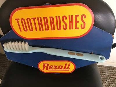Rexall Drug Store Vintage Tooth Brush Display Sign