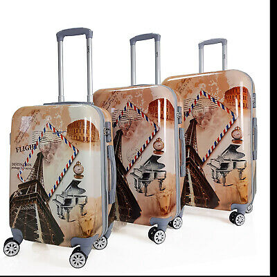 Hartschalen Reisekoffer 100% PC QTC WORLD PARIS Koffer TSA Schloss Trolley Case