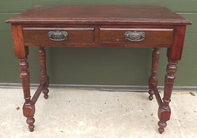 Antique Victorian Stained Pine Two-Drawer Small Writing Table Desk