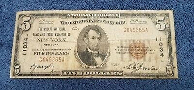 1929 five Dollar Bill $5 National Currency Brown Seal Note - NEW YORK, NY.