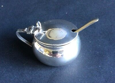 Fab Little Silver-Plated Mustard Pot With Spoon, Serve Your Mustard With Style!