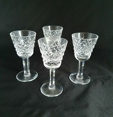 """Waterford Alana 4 Crystal Cordial Glasses Imported from Ireland 3.5"""" by 1.5"""""""
