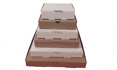 "Plain White - Brown Pizza,Takeaway, Postal Boxes - 5.5"" 7"" 8"" 9"" 10"" and 12"""
