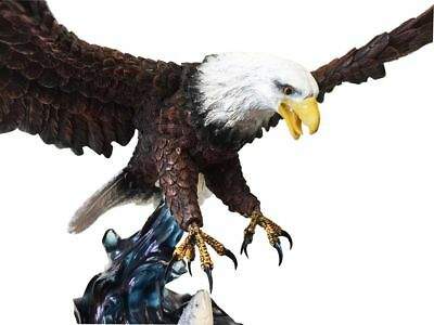 """19"""" Large Bald Eagle Catching Fish Statue Colored Finish Resin Statue Figurine"""