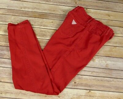 Vintage 80s Women's Guess Red Denim High Waist Tapered Leg USA Jeans 26 x 29 S