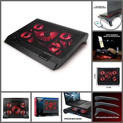 "Gaming Laptop Cooling Pad Stand With LED Light Cooler Quiet Fans For 17"" Laptops"