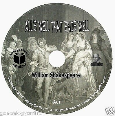 Shakespeare's Alls Well That Ends Well Full Cast (audio CD,Audio book) on 3 CD's