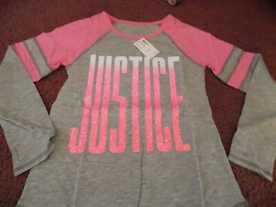 nwt--justice --size 12---sparkle football tee  pink/gray--cute and glittery