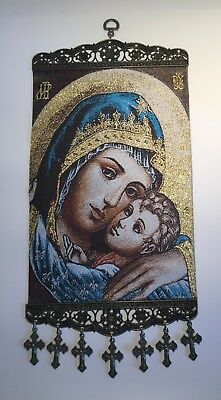 """Madonna Caressing Christ Child, Christian Icon Tapestry Wall Decor, XL (~8""""x11"""")"""