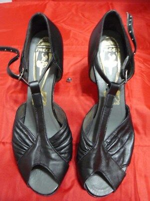 Ladies Dance Shoes-Freed Of London-Black-T Strap-Woman's Size 5 1/2 Uk-7 1/2 Us