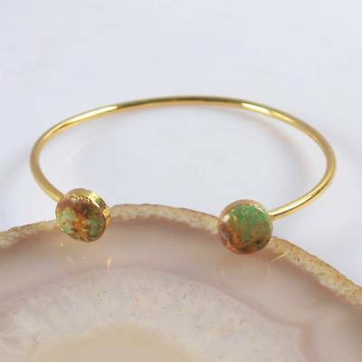 Defective Natural Genuine Turquoise Bangle Gold Plated B069688