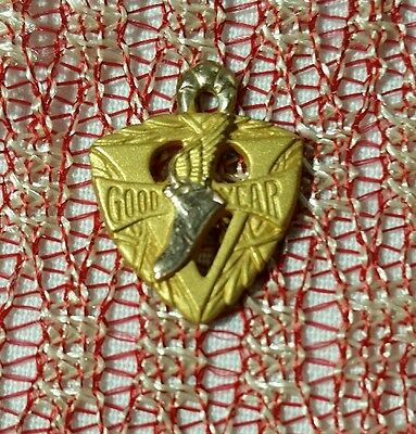 Vintage 1/10-10K Gold Goodyear Wing Foot Service Pendant~5 Year ~Necklace Womens