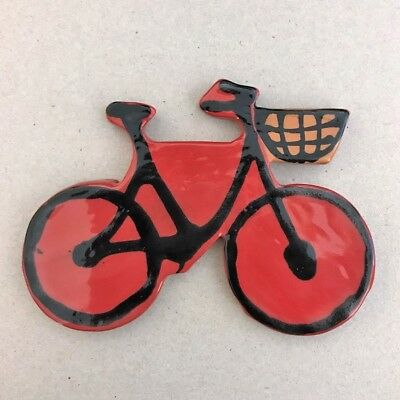 CERAMIC BICYCLE - 75x100mm - Red ~ Mosaic Inserts, Art, Craft Supplies