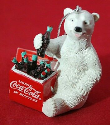 "Coca Cola Bear Ornament Vintage Cooler CHRISTMAS Polar  Resin 2.5"" Gift"