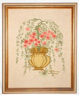 Vintage Needlework Butterfly Classic Urn Cascading Flowers Gold Frame Earth Tone